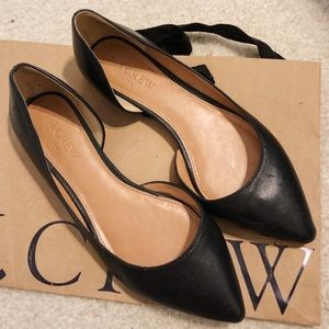 Jcrew black leather flats